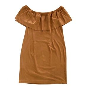 Chico's Suede Off the Shoulder Brown Midi Dress 14